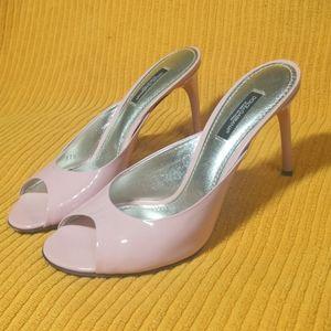 D&G pink calfskin heeled mules